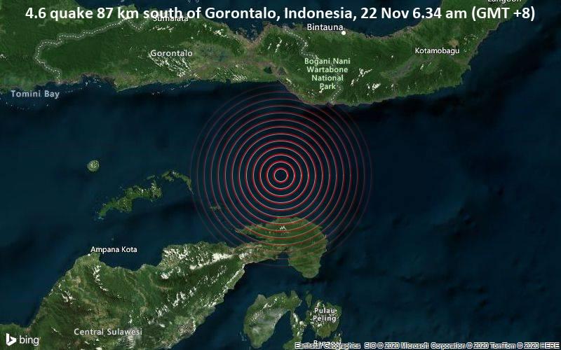 4.6 quake 87 km south of Gorontalo, Indonesia, 22 Nov 6.34 am (GMT +8)