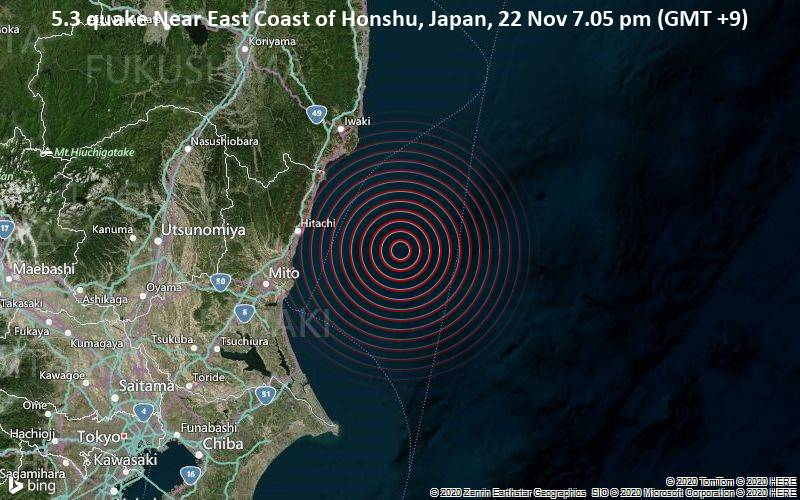 5.3 quake Near East Coast of Honshu, Japan, 22 Nov 7.05 pm (GMT +9)