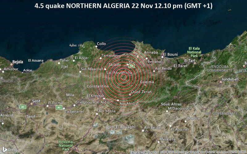 4.5 quake NORTHERN ALGERIA 22 Nov 12.10 pm (GMT +1)