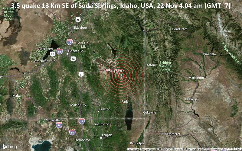 3.5 quake 13 Km SE of Soda Springs, Idaho, USA, 22 Nov 4.04 am (GMT -7)