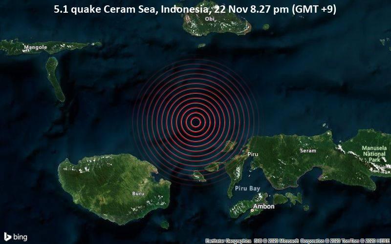 5.1 quake Ceram Sea, Indonesia, 22 Nov 8.27 pm (GMT +9)