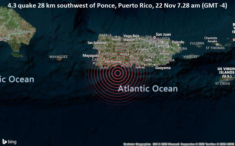 4.3 quake 28 km southwest of Ponce, Puerto Rico, 22 Nov 7.28 am (GMT -4)