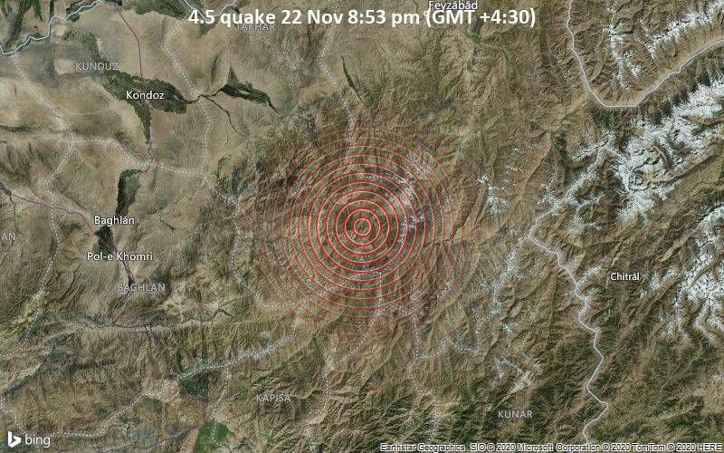 4.5 quake 22 Nov 8:53 pm (GMT +4:30)