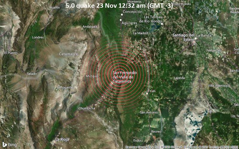 5.0 quake 23 Nov 12:32 am (GMT -3)