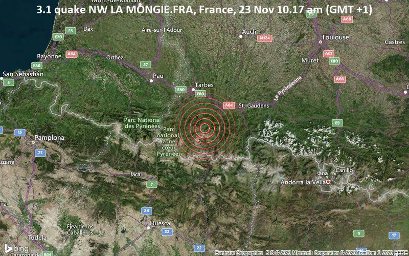 3.1 quake NW LA MONGIE.FRA, France, 23 Nov 10.17 am (GMT +1)