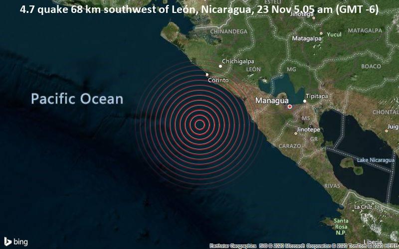 4.7 quake 68 km southwest of León, Nicaragua, 23 Nov 5.05 am (GMT -6)