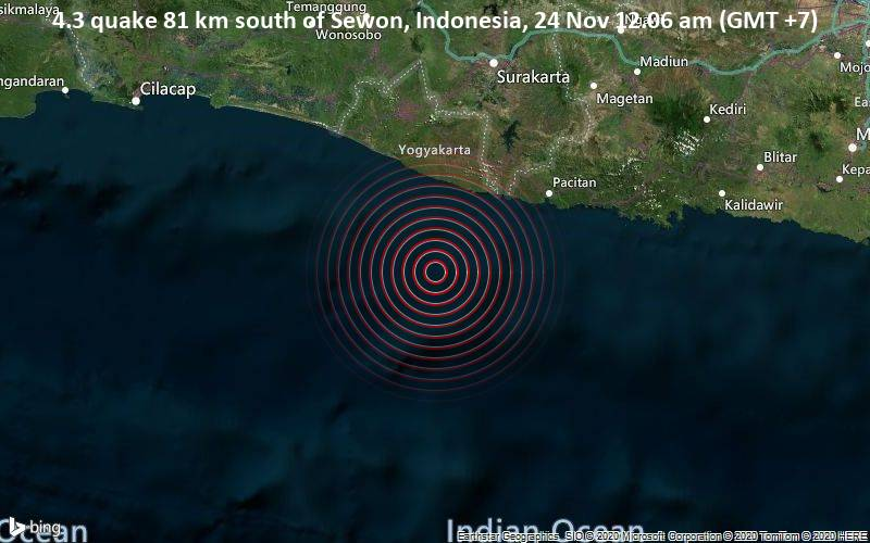 4.3 quake 81 km south of Sewon, Indonesia, 24 Nov 12.06 am (GMT +7)