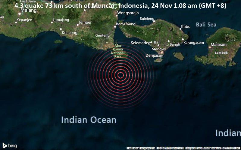 4.3 quake 73 km south of Muncar, Indonesia, 24 Nov 1.08 am (GMT +8)