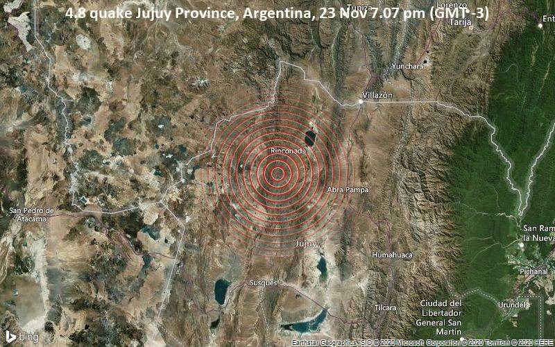 4.8 quake Jujuy Province, Argentina, 23 Nov 7.07 pm (GMT -3)