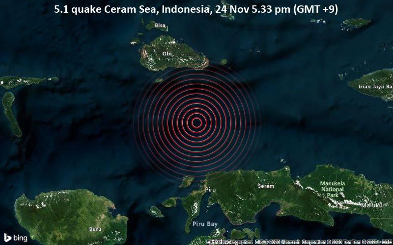 5.1 quake Ceram Sea, Indonesia, 24 Nov 5.33 pm (GMT +9)
