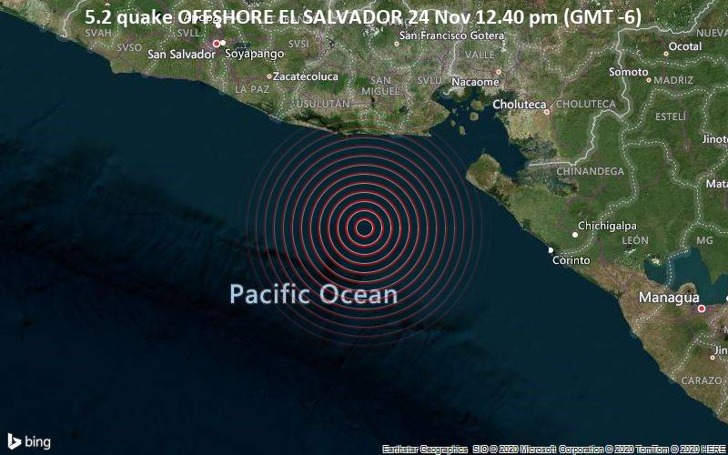 5.2 quake OFFSHORE EL SALVADOR 24 Nov 12.40 pm (GMT -6)