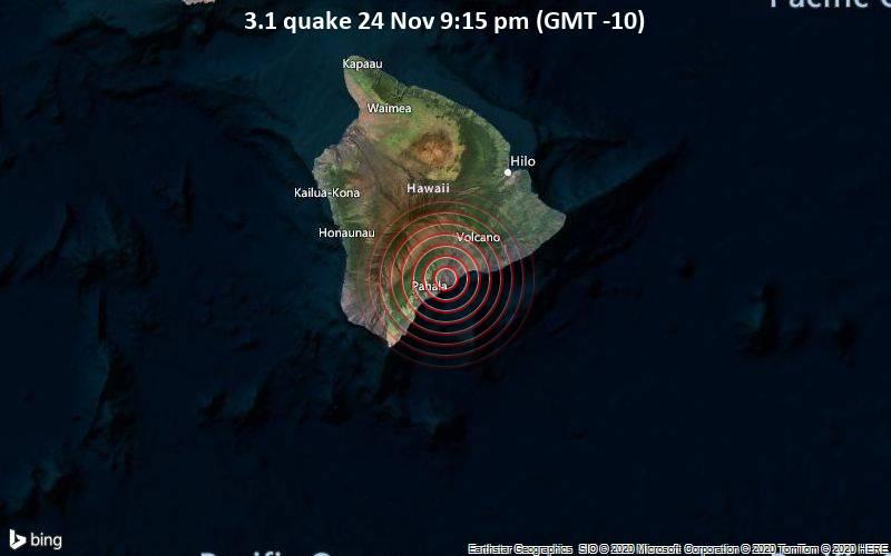 3.1 quake 24 Nov 9:15 pm (GMT -10)