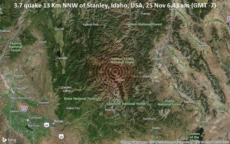 3.7 quake 13 Km NNW of Stanley, Idaho, USA, 25 Nov 6.43 am (GMT -7)