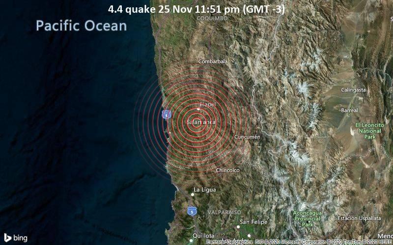 Leichtes Erdbeben der Stärke 4.4 - 1.4 km nordwestlich von Limahuida, Provincia de Choapa, Chile, am Mittwoch, 25. Nov 2020 um 23:51 Lokalzeit