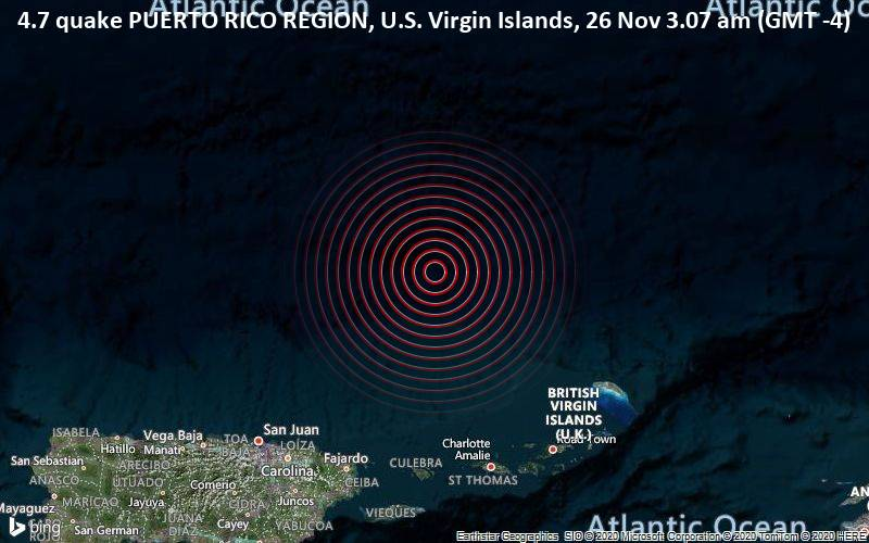 4.7 quake PUERTO RICO REGION, U.S. Virgin Islands, 26 Nov 3.07 am (GMT -4)