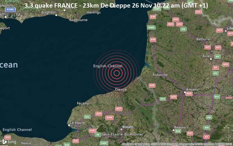3.3 quake FRANCE - 23km De Dieppe 26 Nov 10.22 am (GMT +1)