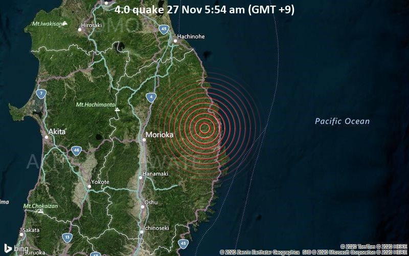 4.0 quake 27 Nov 5:54 am (GMT +9)