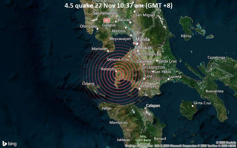 Magnitude 4 5 Earthquake Strikes Near Quezon City Philippines Volcanodiscovery