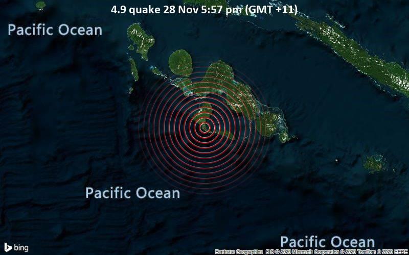 4.9 quake 28 Nov 5:57 pm (GMT +11)