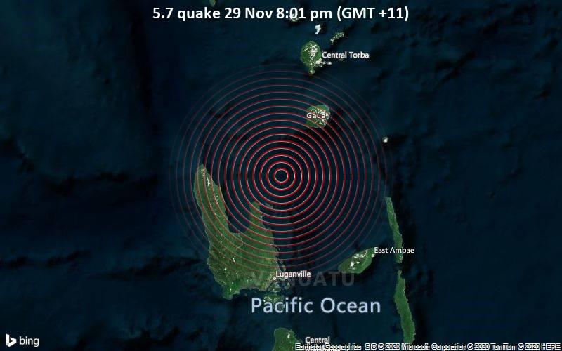 5.7 quake 29 Nov 8:01 pm (GMT +11)