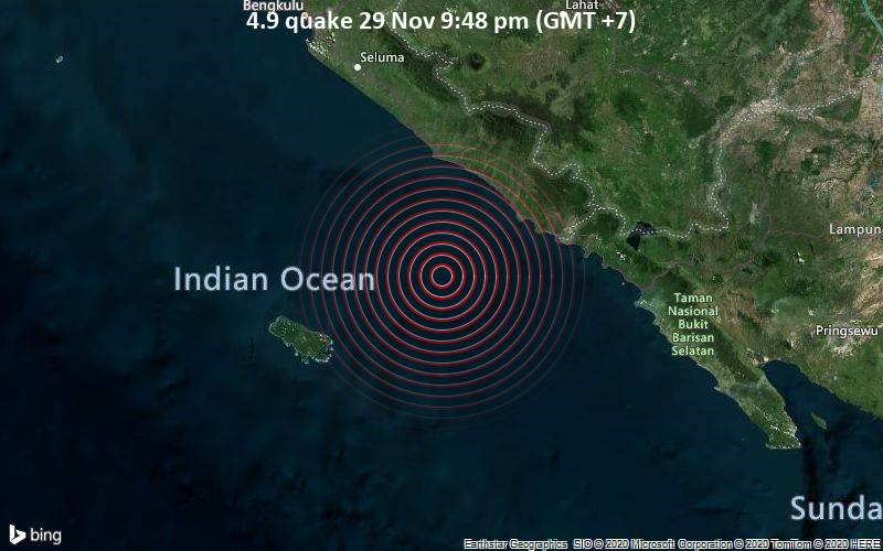 4.9 quake 29 Nov 9:48 pm (GMT +7)