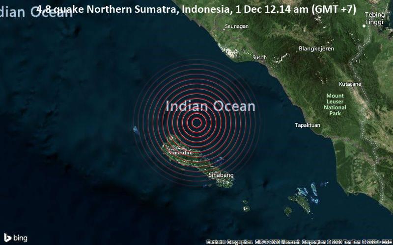 4.8 quake Northern Sumatra, Indonesia, 1 Dec 12.14 am (GMT +7)