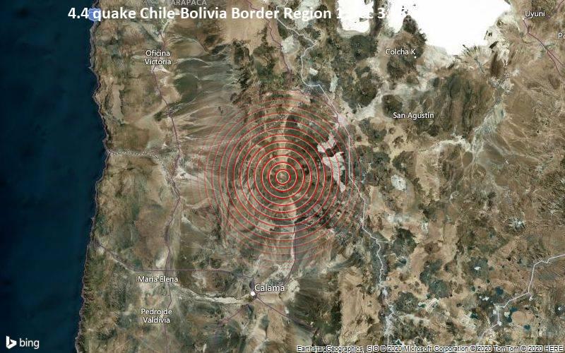 4.4 quake Chile-Bolivia Border Region 1 Dec 3.15 am (GMT -3)