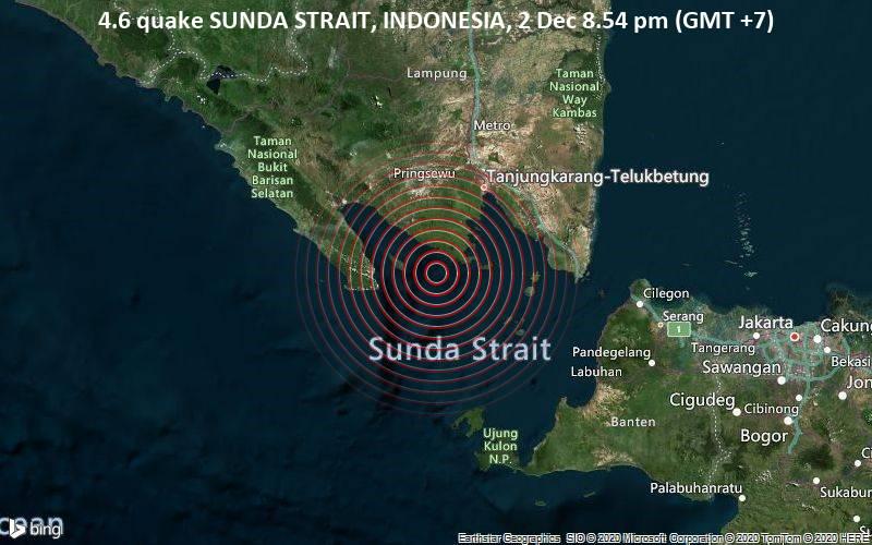 4.6 quake SUNDA STRAIT, INDONESIA, 2 Dec 8.54 pm (GMT +7)