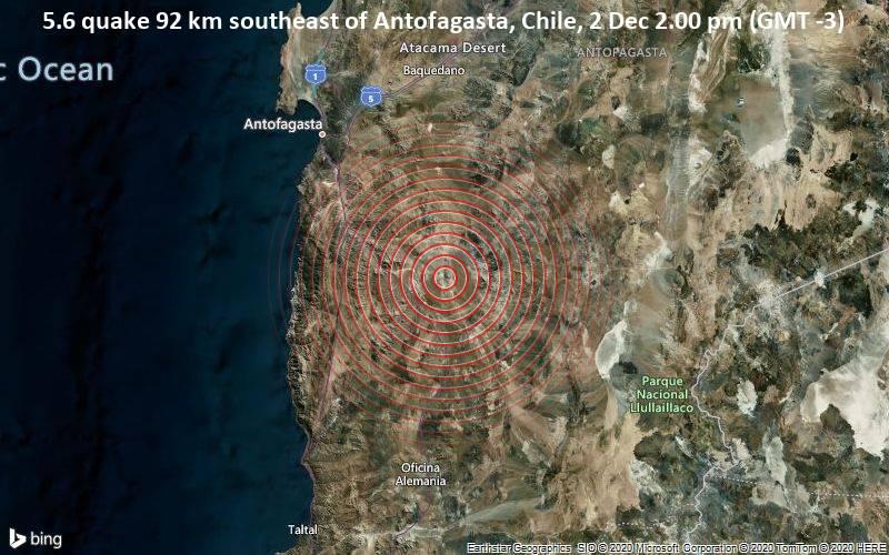 5.6 quake 92 km southeast of Antofagasta, Chile, 2 Dec 2.00 pm (GMT -3)