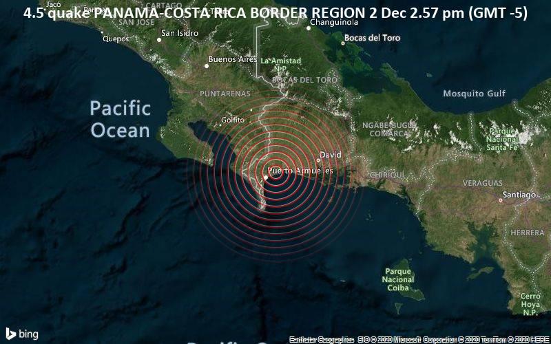 4.5 quake PANAMA-COSTA RICA BORDER REGION 2 Dec 2.57 pm (GMT -5)