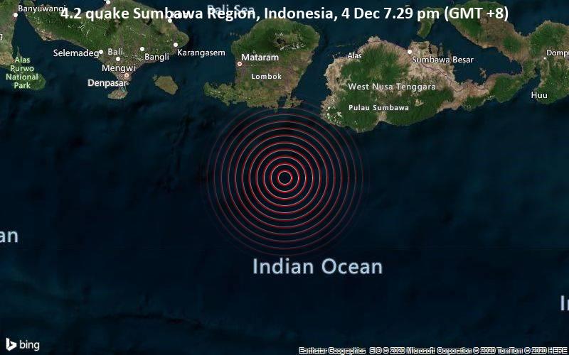 4.2 quake Sumbawa Region, Indonesia, 4 Dec 7.29 pm (GMT +8)