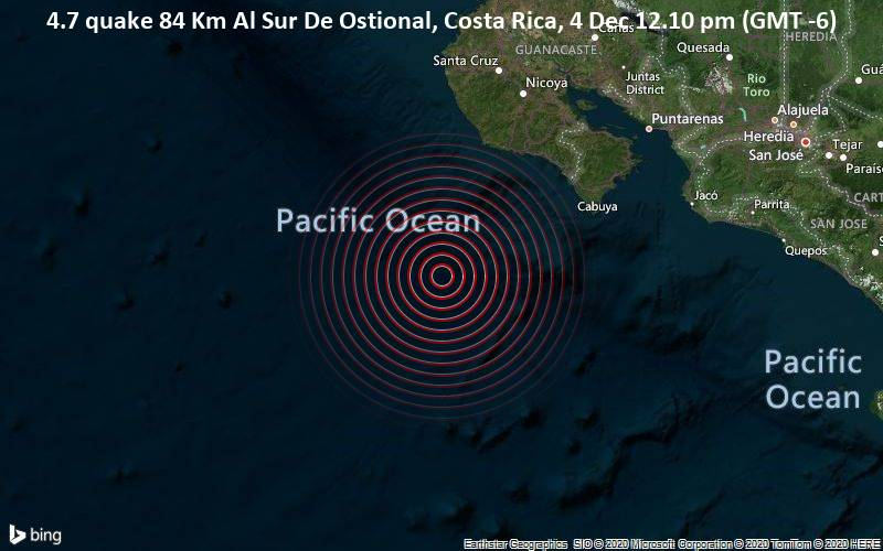 4.7 quake 84 Km Al Sur De Ostional, Costa Rica, 4 Dec 12.10 pm (GMT -6)