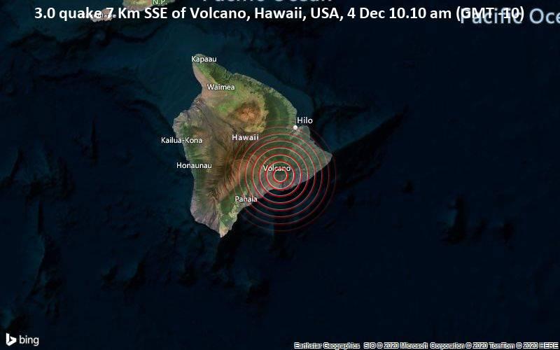 3.0 quake 7 Km SSE of Volcano, Hawaii, USA, 4 Dec 10.10 am (GMT -10)