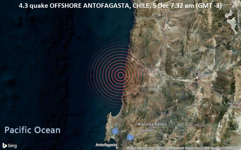 4.3 quake OFFSHORE ANTOFAGASTA, CHILE, 5 Dec 7.32 am (GMT -3)