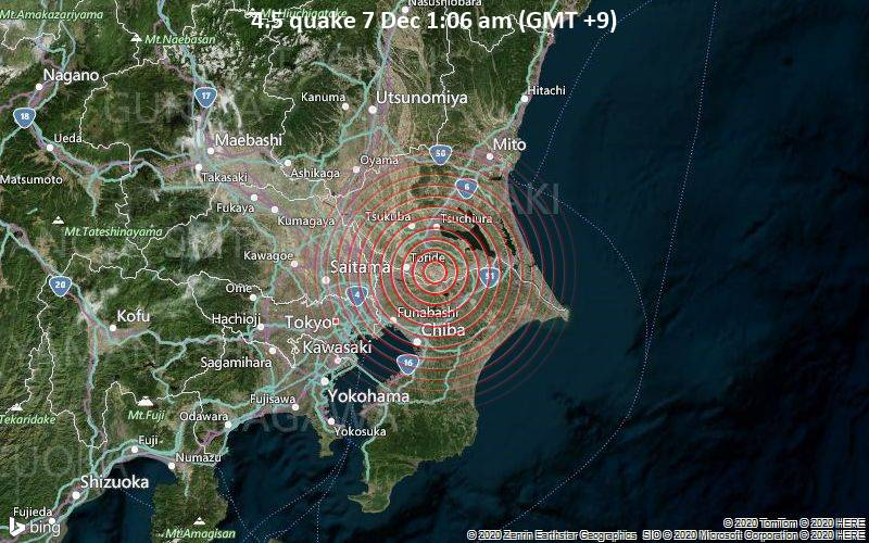 4.5 quake 7 Dec 1:06 am (GMT +9)