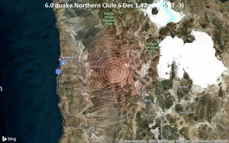 6.0 quake Northern Chile 6 Dec 1.47 pm (GMT -3)