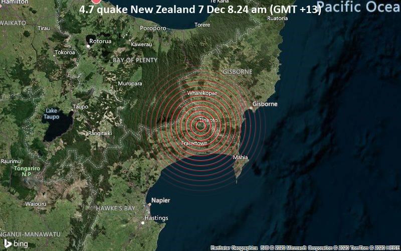 4.7 quake New Zealand 7 Dec 8.24 am (GMT +13)