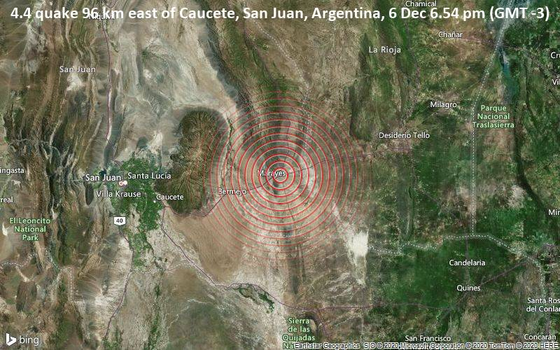 4.4 quake 96 km east of Caucete, San Juan, Argentina, 6 Dec 6.54 pm (GMT -3)