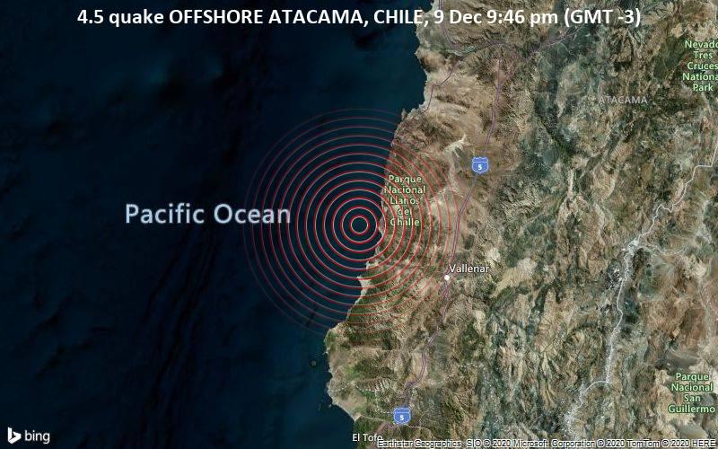 4,5 gempa OFFSHORE ATACAMA, CHILE, 9 Des 21:46 (GMT -3)