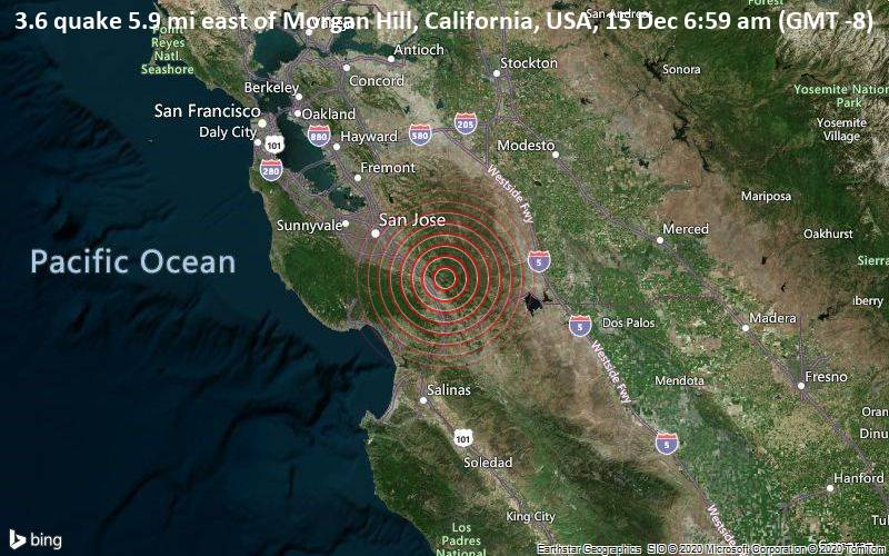 3.6 quake 5.9 mi east of Morgan Hill, California, USA, 15 Dec 6:59 am (GMT -8)