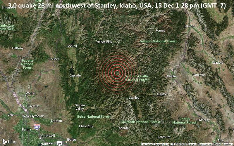 3.0 quake 28 mi northwest of Stanley, Idaho, USA, 15 Dec 1:28 pm (GMT -7)