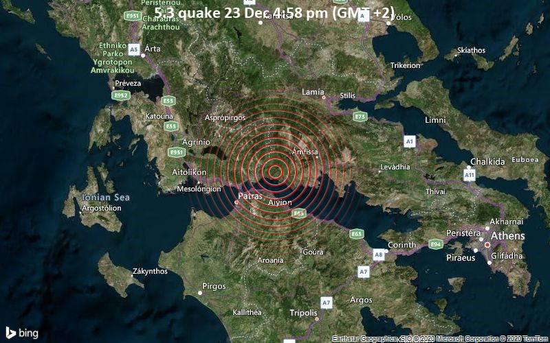 5.3 quake 23 Dec 4:58 pm (GMT +2)