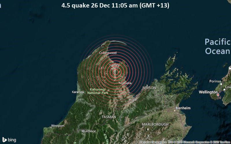 4.5 quake 26 Dec 11:05 am (GMT +13)