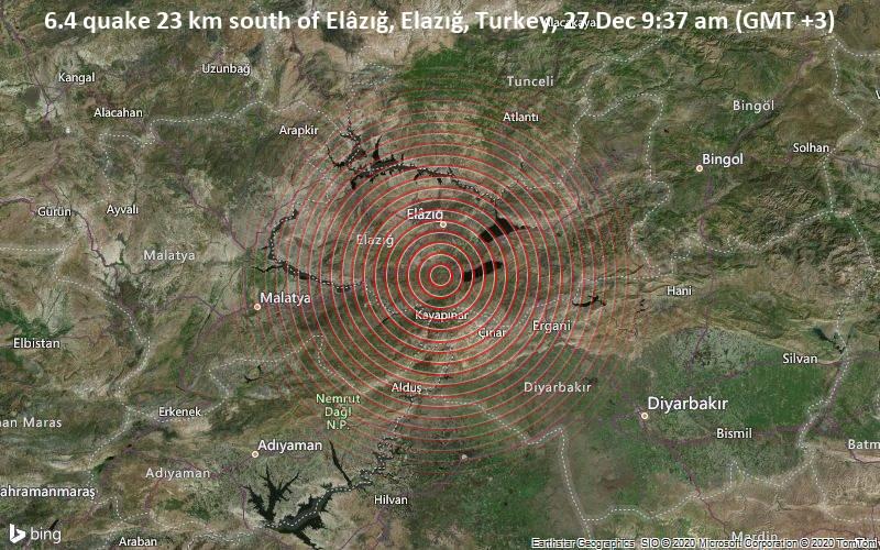 6.4 quake 23 km south of Elâzığ, Elazığ, Turkey, 27 Dec 9:37 am (GMT +3)
