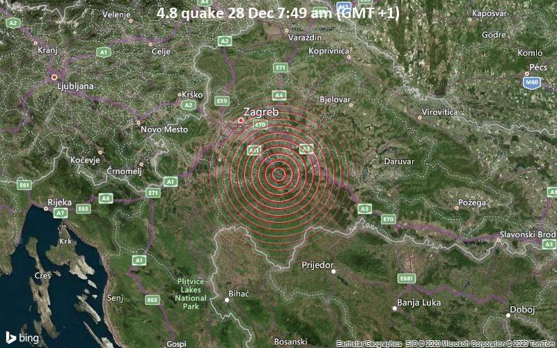 Mag 4 8 Earthquake 10 4 Km Au Nord Ouest De Sisek Grad Sisak Sisak Moslavina Croatie On Lundi 28 Dec 2020 07 49 Gmt 1 192 User Experience Reports Volcanodiscovery