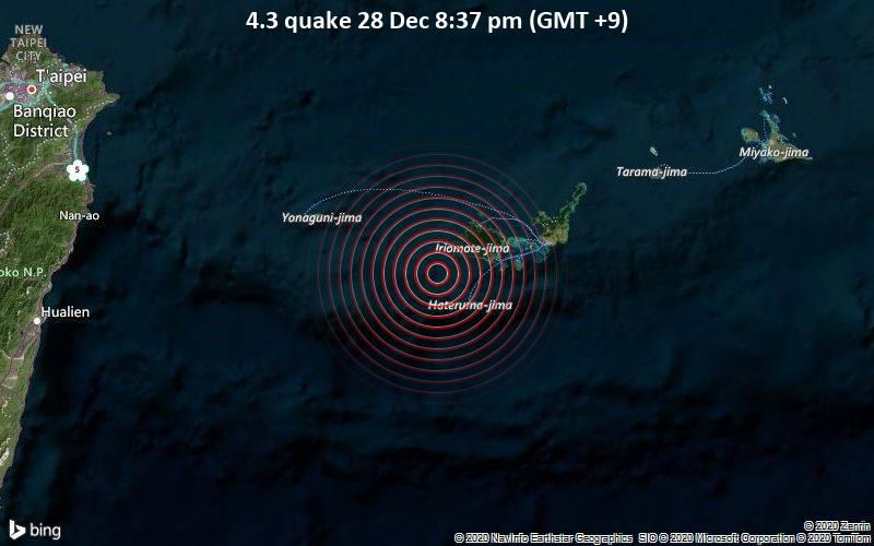 4.3 quake 28 Dec 8:37 pm (GMT +9)