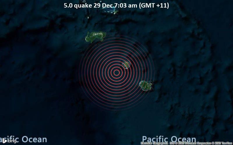 5.0 quake 29 Dec 7:03 am (GMT +11)
