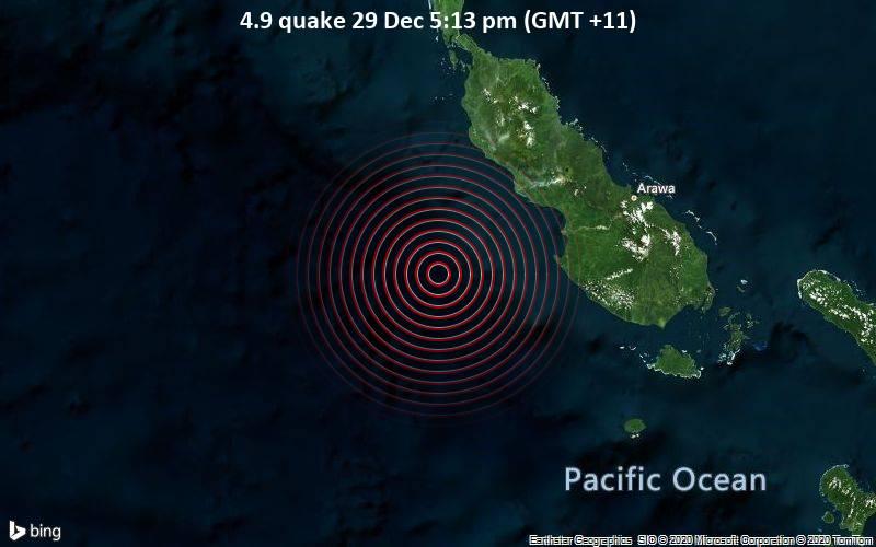 4.9 quake 29 Dec 5:13 pm (GMT +11)