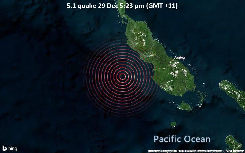 5.1 quake 29 Dec 5:23 pm (GMT +11)