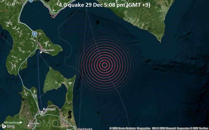 4.0 quake 29 Dec 5:08 pm (GMT +9)